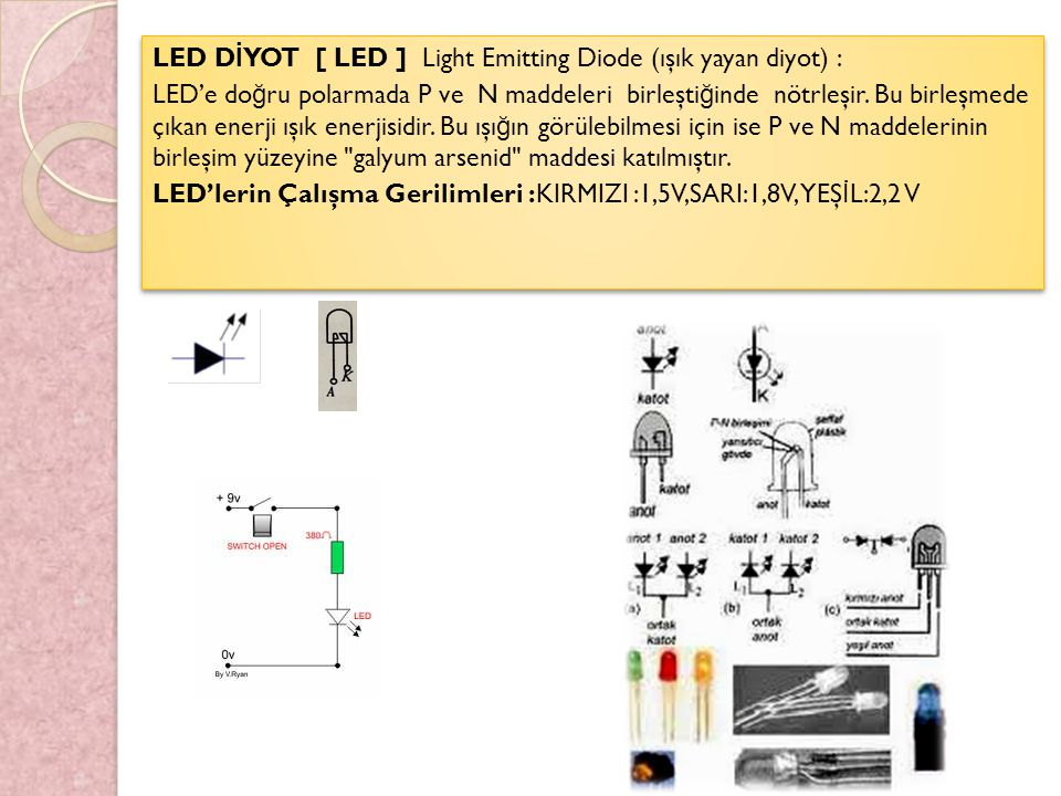 LED DİYOT [ LED ] Light Emitting Diode (ışık yayan diyot) :